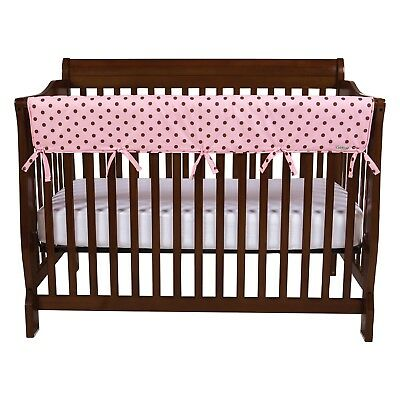 Trend Lab Cribwrap Wide Rail Cover Long Maya Dot Percale Pink