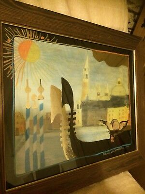 Rosina wachtmeister Lithograph Picture art. Gold Foil. Boats. Signed 1994.
