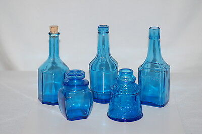 "Lot of Five (5) - Wheaton N.J. Cobalt Blue Bottles - 3 1/2"" to 6"" Tall"