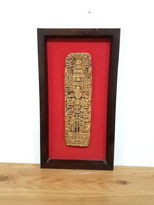 antique embossed plaque sculpture hand carved handmade decor art mayan dynasty