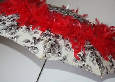 """Umbrella RED HAT SOCIETY Decorative 36"""" W x 23"""" H Red Gray Roses Parasol Used"""