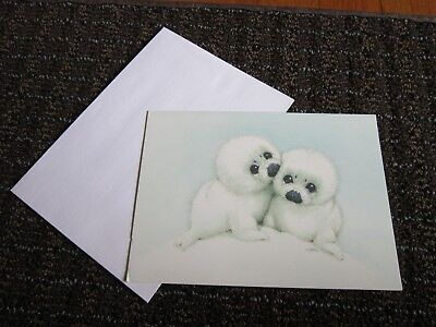 White Baby Seal Collectible Card RJM Ruth Morehead UNUSED Snow Babies Blank
