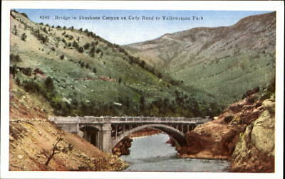 Bridge~Shoshone Canyon~Cody Road to Yellowstone National Park ~ 1920s postcard