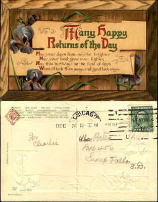 Many Happy Returns of the Day iris flowers poem wood PFB~1909 to SIOUX FALLS SD