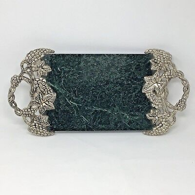 Godinger Marble & Silver Cheese Serving Tray Grapevine Green Entertaining