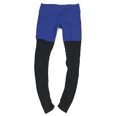 Alo Yoga Legging Size Large Womens Goddess Ribbed Pants Black Blue Color Block