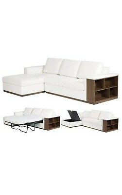 Faux Leather Corner Sofa Bed With Storage