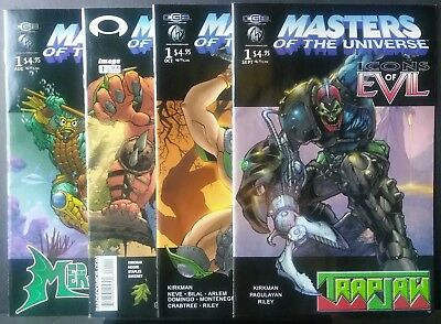 Masters of the Universe Icons of Evil ,Beast Man,Mer-Man,Tri-Klops&Trap Jaw NM-