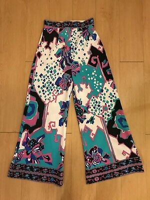 Funky Multicolor 70s Extreme High Rise Bell Bottom Pants Size 10 (Small) Vintage