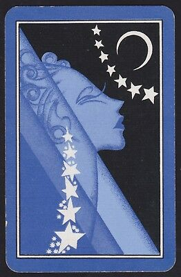1 Single VINTAGE Swap/Playing Card MYSTIC LADY STARS CRESCENT MOON Blue