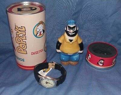 Popeye & Friends Fossil watch with Brutus porcelain watch holder & tin