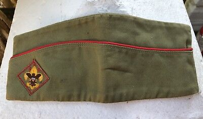 Vintage Boy Scouts of America BSA Garrison Hat Cap Size Large 7-7 1/8 Army Green