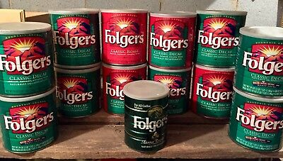 (13) Vintage Folgers Tin Coffe Cans 39 Oz And 1 Lb