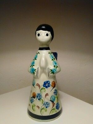 Tonala Pottery Hand Painted Angel Candle Holder Mexican Folk Art 1970's Signed