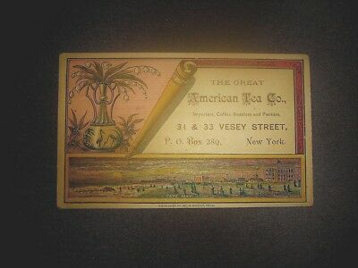 Victorian trade card for The Great American Tea Co. NYC