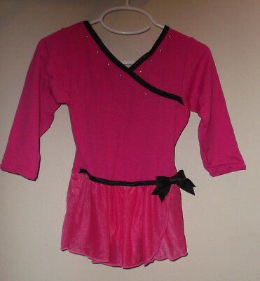 Danskin Freestyle Girls Dance Ballet Lyric Pink & Black Skirted Leotard Size 4/5