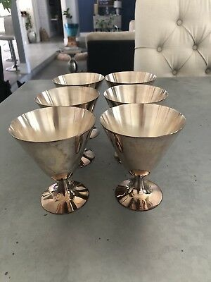 ANTIQUE French Christofle  Silver Plated 6 Gobelets / Cups