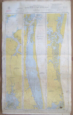 """Vtg 1954 C&GS 2-Sided CHART #833 & 834 INTRACOASTAL WATERWAY NC 24"""" x 39"""""""