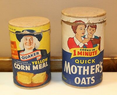 Lot of 2 Vintage Advertising Containers Quaker Corn Meal & Quick Mother's Oats