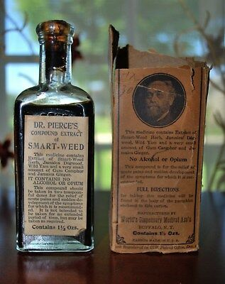 Antique Pharmacy Medicine Dr. Pierce's Smart Weed Corked Bottle Full