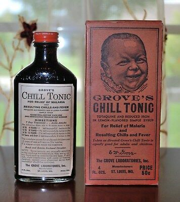 Antique Pharmacy Medicine Grove's Chill Tonic For Malaria Full With Box