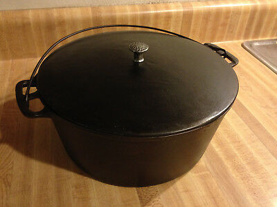 Wagner Unmarked #8 Flat Whistle Top Straight Side Cast Iron Dutch Oven Antique