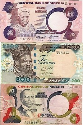 Nigeria Central Bank Note 1,5,200 Naira Paper Money, Currency