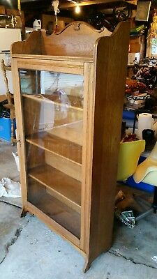 Antique Display Curio Cabinet Ash/ Elm Victorian 1920s Wavy Glass shelves orig