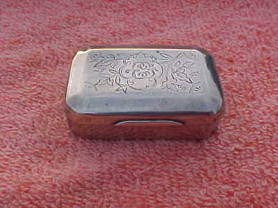 Vintage Sterling Silver engraved Trinket Snuff or Pill Box 36 grams