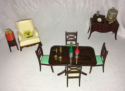 Vintage Renwal Miniature Dollhouse Furniture Dining Room Radio Lighter Coffee