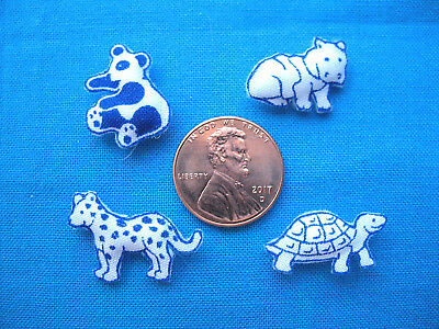 Lot of 4 Miniature Dollhouse Pillows of Very Tiny and Cute Assorted Baby Animals