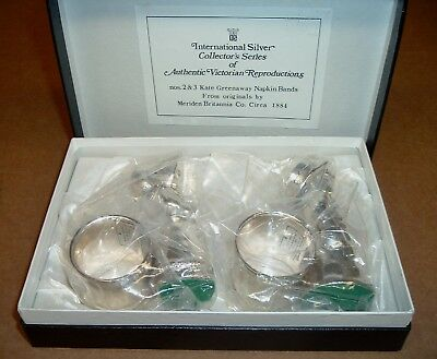 KATE GREENAWAY Set Boy & Girl SILVER NAPKIN BANDS NIB Repro International Old