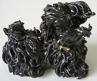 Poodle Dog Figurine Spaghetti Porcelain Collectible Vintage Black 3""