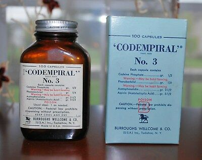 Antique Pharmacy Medicine Burroughs Wellcome Codempiral No.3 Codeine/phenobarb