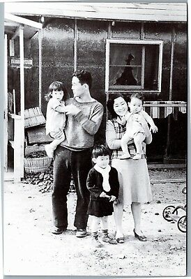 Young family at Topaz Japanese Internment Camp postcard