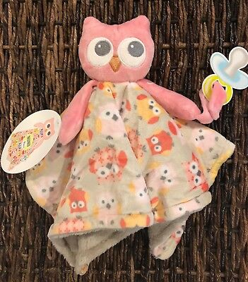 Blankets and Beyond Owl Gray Pink Security Blanket Lovey
