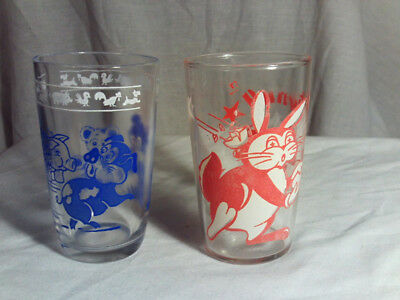 Vintage 1950's Swanky Swigs Kraft Cheese Animal And Bunny Juice Glass Set of 2