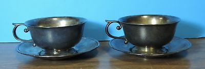 Pair of Antique Silverplate Silver Plate Art Krupp Berndorf Germany Cup & Saucer