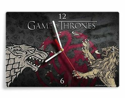GAME OF THRONES SIGIL GLASS WALL CLOCK - 35 x 23 x 3 cm - Kitchen Man Cave Bar