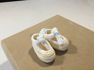 Cotton, Baby Bootees, Hand Knitted,to Fit From 3 Months, Yellow/white, New(B10)