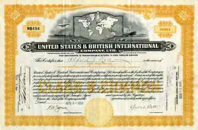 1929 United States & British International Co Stock Certificate