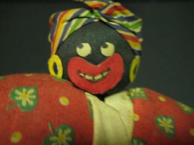 Antique Vintage Rare Black Americana Crepe Paper Mammy Pappy Folk Art Doll Pair