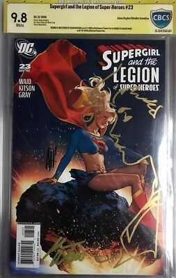 Supergirl and the Legion of Super-Heroes #23 CBCS 9.8 SS x2 Sketch Hughes Waid