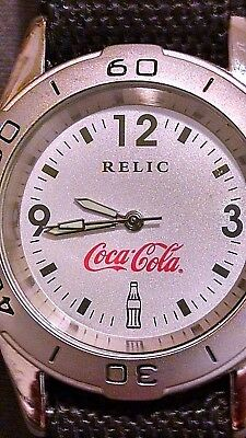 Relic By Fossil Coca-Cola Watch Stainless Steel W/ Nylon Band Rare Coke