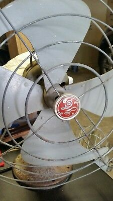 "Antique 16"" GE General Electric Oscillating Table Fan 21"" Tall X 16"" made in USA"