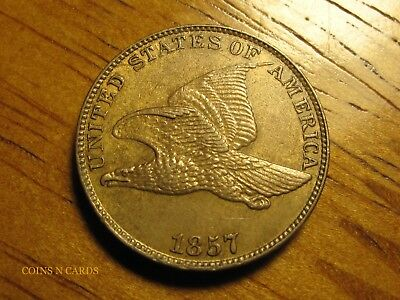 1857 1C Flying Eagle Cent Choice Uncirculated Beauty w/ Full Bold Feathers Rare!