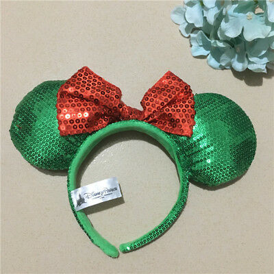 Disney Minnie Mouse Ears Red Green Sequin Headband  Bow Christmas Holiday