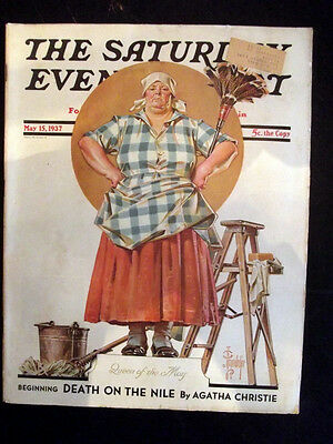 Antique SATURDAY EVENING POST MAGAZINE 05-15-1937 Death On The Nile A. Christie