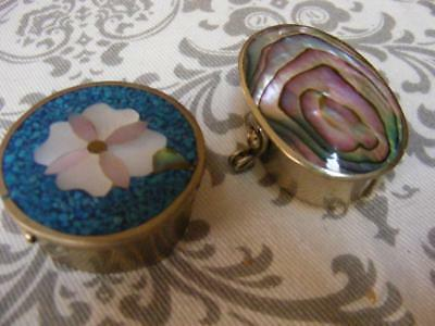 2 Small PILL BOX BOXES MEXICO Silver Inlay Mosaïc Turquoise Mexico TAXCO Trinket