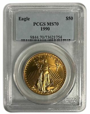 1990 Gold Eagle $50 Pcgs Ms70 Low Pop Only 36 Coins